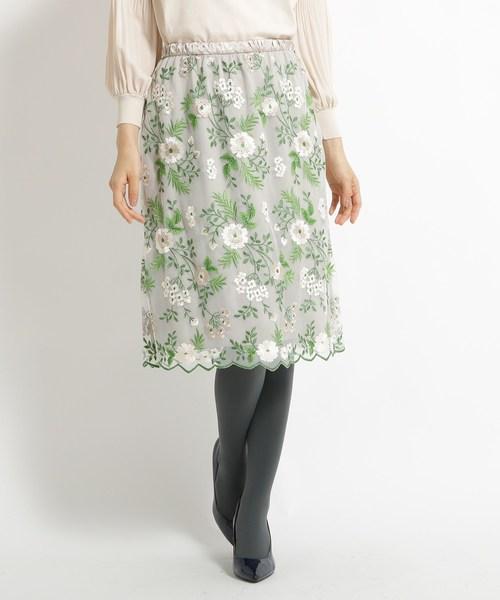【人気商品】 【洗える】花柄刺繍チュールスカート, リフィール 265ff47e