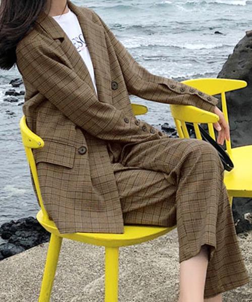 レディース 秋色グレンチェック柄ミディジャケット+パンツ セットアップ上下2点セット