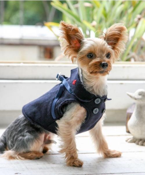 犬と生活/いぬとせいかつ/ボディーハーネス ロング マリンPコート 1号,2号/犬服(ドッグウェア)