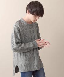 MONO-MART(モノマート)のオーバーサイジングアラン編みヘムラインケーブルニットセーター(ニット/セーター)