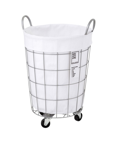 BRID(ブリッド)の「ブリッド ワイヤーアーツ&プロ ラウンド バスケット キャスター付き 収納 洗濯かご ランドリー ボックス / BRID WIRE ARTS & PRO.laundry ROUND BASKET WITH CASTER_33L(ランドリーグッズ)」|ホワイト