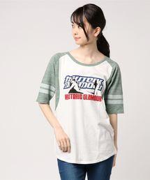 HYS WOMAN BOX プリント 五分袖Tシャツ