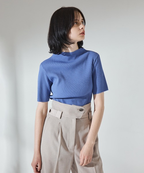 UNITED TOKYO(ユナイテッドトウキョウ)の「ラスターリブハーフスリーブ /半袖 カットソー(Tシャツ/カットソー)」|ブルー