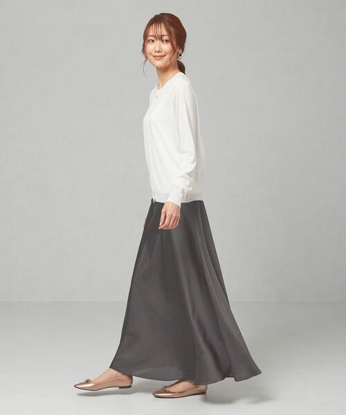 <closet story>□CSC サテン サーキュラー マキシスカート -手洗い可能-