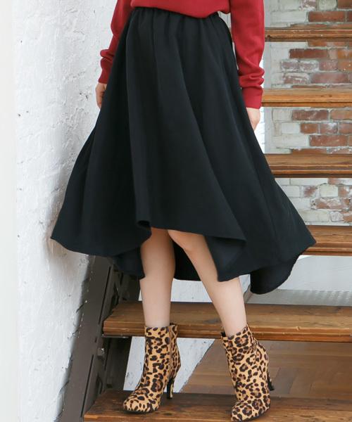 KOBE LETTUCE(コウベレタス)の「ピーチスキンイレギュラーヘムスカート(スカート)」|ブラック