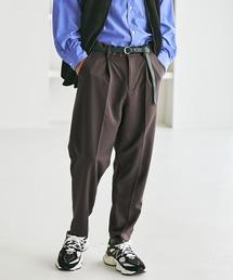 TRストレッチスーツ地 ワンタック セミワイド テーパードアンクルパンツ EMMA CLOTHES 2021 SPRINGスモークグレー