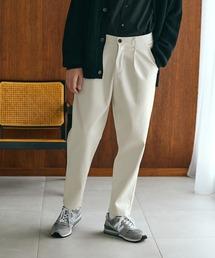 TRストレッチスーツ地 ワンタック セミワイド テーパードアンクルパンツ EMMA CLOTHES 2021 SPRINGオフホワイト