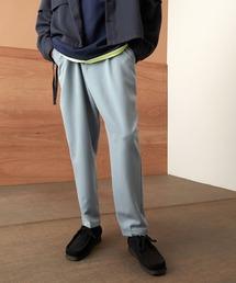 TRストレッチスーツ地 ワンタック セミワイド テーパードアンクルパンツ EMMA CLOTHES 2021 SPRINGブルー
