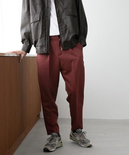 TRストレッチスーツ地 ワンタック テーパードセミワイドパンツ EMMA CLOTHES 2021 A/W