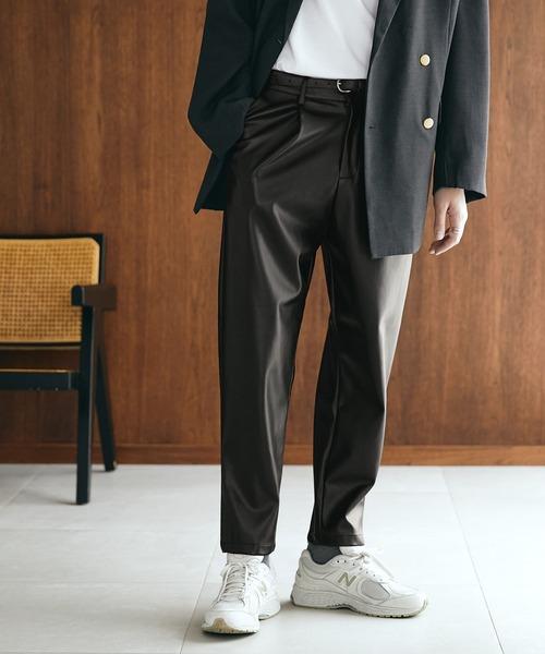 TRストレッチスーツ地 ワンタック セミワイド テーパードアンクルパンツ EMMA CLOTHES 2021 SPRING