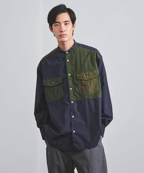 <EN ROUTE(アンルート)> タイプライター✕リップストップ 2ポケット  バンドカラー シャツ