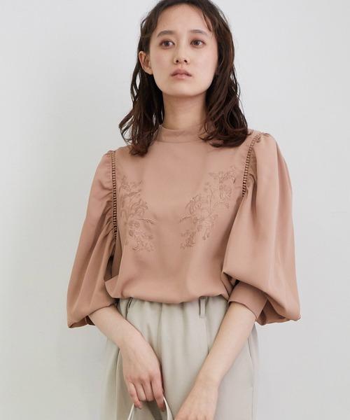 ViS(ビス)の「【WEB限定】刺繍ブラウス(シャツ/ブラウス)」|ピンク