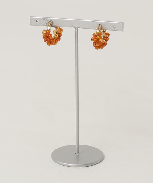 TONE SELECT GOODS(トーンセレクトグッズ)の「【marinaJEWELRY】14kgf/天然琥珀Baltic Amber pave pierced earring(ピアス(両耳用))」 詳細画像