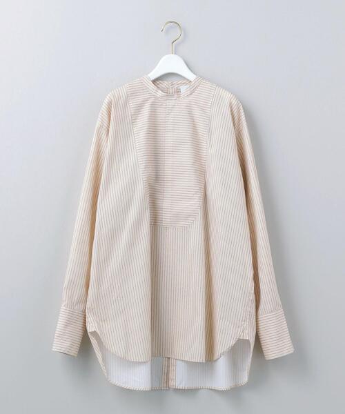 <6(ROKU)>STRIPE BAND COLLAR SHIRT/シャツ