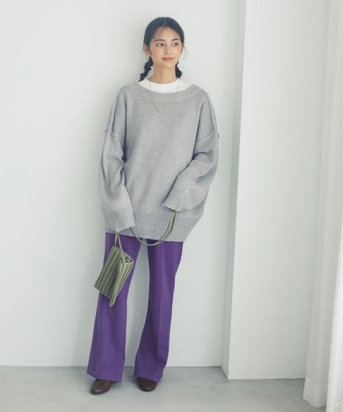 [CRAFT STANDARD BOUTIQUE] 【WEB別注】SLIT PANTS/裾スリットセンタープレスパンツ《美脚パンツ》〇
