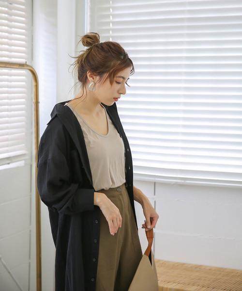 【2018 A/W】ガーゼシャツワンピース/コットンフロントボタン長袖ロング丈ワンピース