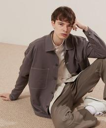TRストレッチ ビッグステッチ L/Sオーバーボックス CPOシャツジャケット カバーオールシャツ EMMA CLOTHES 2021 S/Sスモークグレー