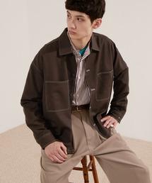 TRストレッチ ビッグステッチ L/Sオーバーボックス CPOシャツジャケット カバーオールシャツ EMMA CLOTHES 2021 S/Sダークブラウン