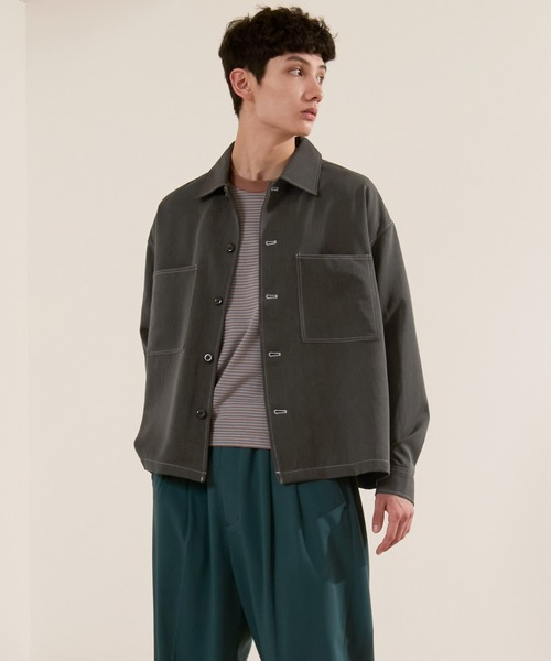 TRストレッチ ビッグステッチ L/Sオーバーボックス CPOシャツジャケット カバーオールシャツ EMMA CLOTHES 2021 SPRING