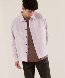 TRストレッチ ビッグステッチ L/Sオーバーボックス CPOシャツジャケット カバーオールシャツ EMMA CLOTHES 2021 S/Sライラック