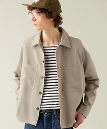 TRストレッチ ビッグステッチ L/Sオーバーボックス CPOシャツジャケット カバーオールシャツ EMMA CLOTHES 2021 S/Sグレイッシュベージュ