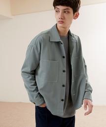 TRストレッチ ビッグステッチ L/Sオーバーボックス CPOシャツジャケット カバーオールシャツ EMMA CLOTHES 2021 S/Sブルー