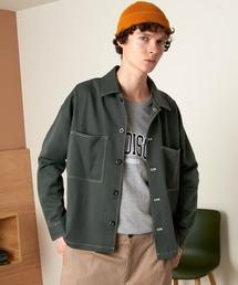 TRストレッチ ビッグステッチ L/Sオーバーボックス CPOシャツジャケットグリーン