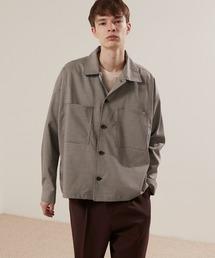 TRストレッチ ビッグステッチ L/Sオーバーボックス CPOシャツジャケット カバーオールシャツ EMMA CLOTHES 2021 S/Sブラウン系その他5