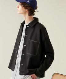 TRストレッチ ビッグステッチ L/Sオーバーボックス CPOシャツジャケットブラック