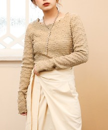 bubble cropped long Tブラウン