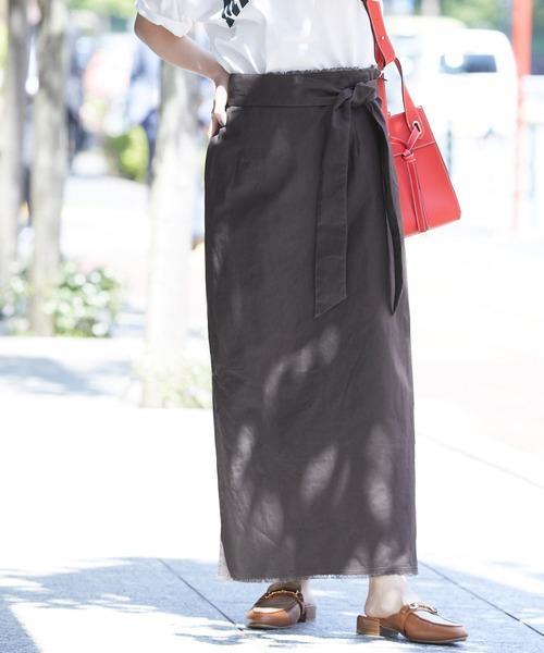 ViS(ビス)の「【ヘンプオーガニックコットン】リネンライクナロースカート(スカート)」|スミクロ