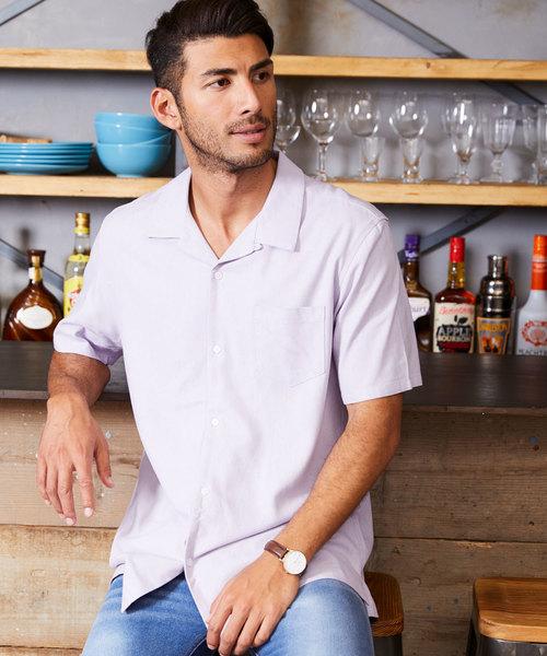 麻レーヨン オープンカラー 半袖 リネンシャツ