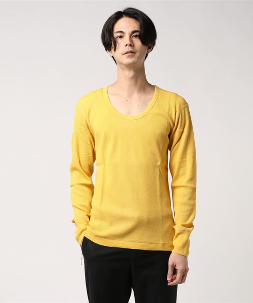 ∴【 Healthknit / ヘルスニット 】ワッフルUネック長袖Tシャツ 852 SIP