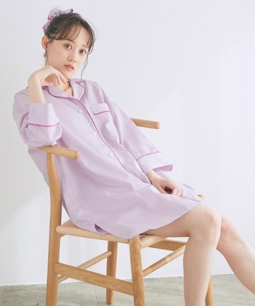 【鎌倉シャツ×ViSage】【SET】チュニックショートパンツパジャマ