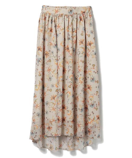 更紗フラワープリントフレアスカート