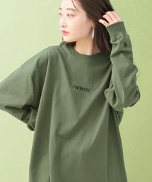 CONVERSE/コンバース 別注 ロゴ刺繍 長袖 ビッグシルエットカットソーダークグリーン