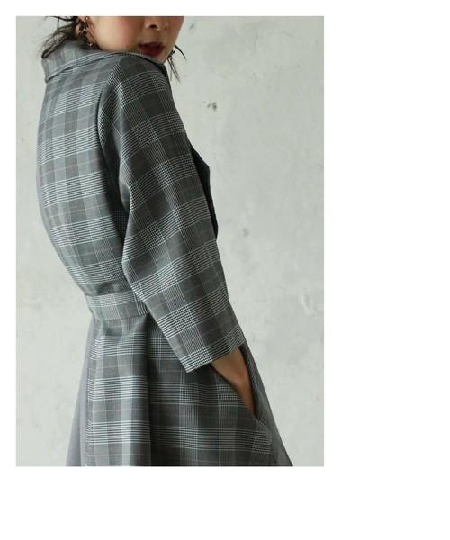 グレンチェックバイカラーのAラインジャケット(グレー)