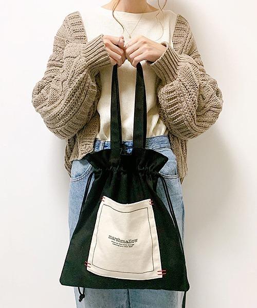 【インフルエンサー aiko×DEVICE コラボ】Rename 帆布 巾着トートバッグ /ハンドバッグ (ユニセックス)