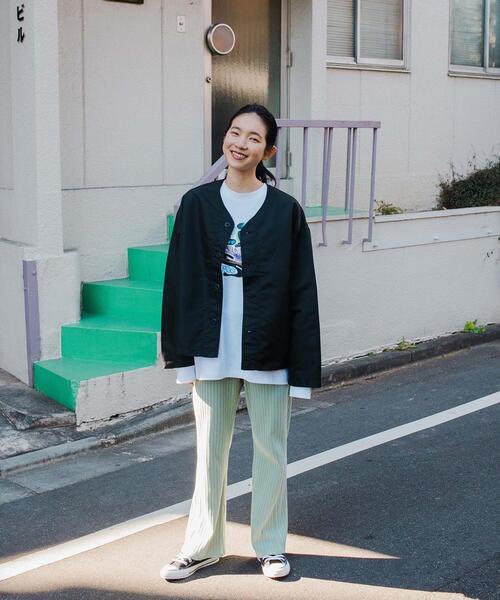【 WEB限定 】[ GLR/ -or ] ノーカラー カバーオール ジャケット 男女兼用 ユニセックス