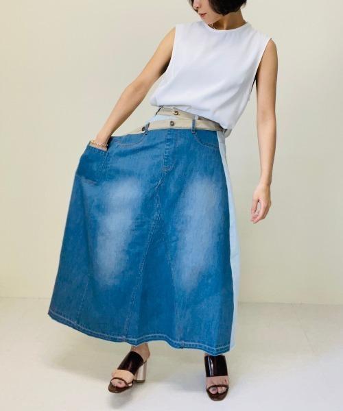 doll up oops(ドールアップウップス)の「リメイク風 デニムスカート(スカート)」|詳細画像