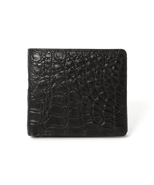 有名ブランド CROIX ROYAL CROCODILE WALLET クロワロワイヤル クロコダイル ウォレット ワニ革 クロコ 財布 二つ折り財布 CRR-CRSM012JP-BLK, ミヤコグン af70d5e9