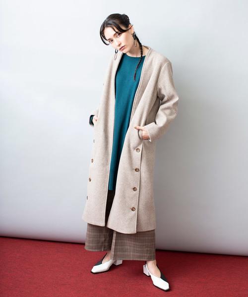 超爆安 ノーカラーガウンコート(ダウンジャケット/コート)|OSMOSIS(オズモーシス)のファッション通販, 安達郡:1ee6ac86 --- skoda-tmn.ru