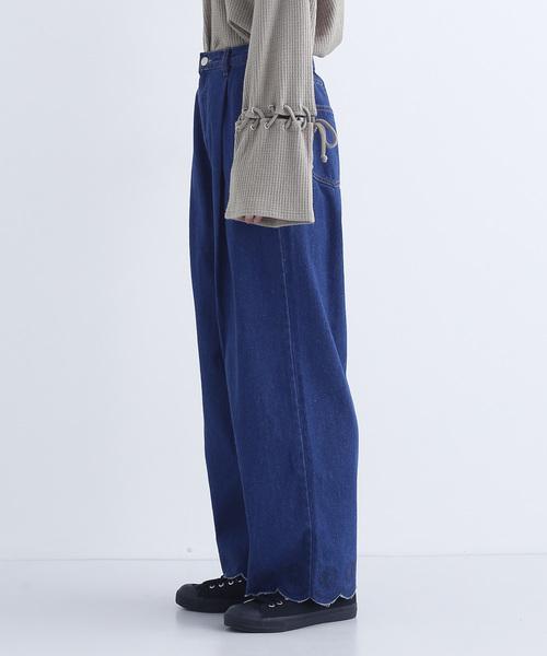 刺繍スカラップデニムワイドパンツ002-4527