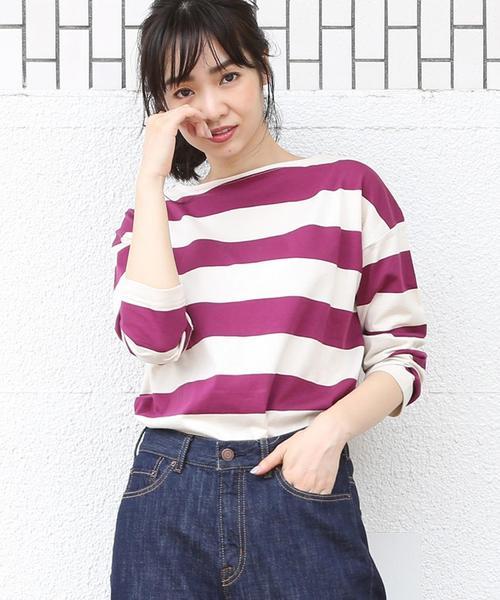 【新色登場・WEB限定】ワイドボーダーボートネックカットソー