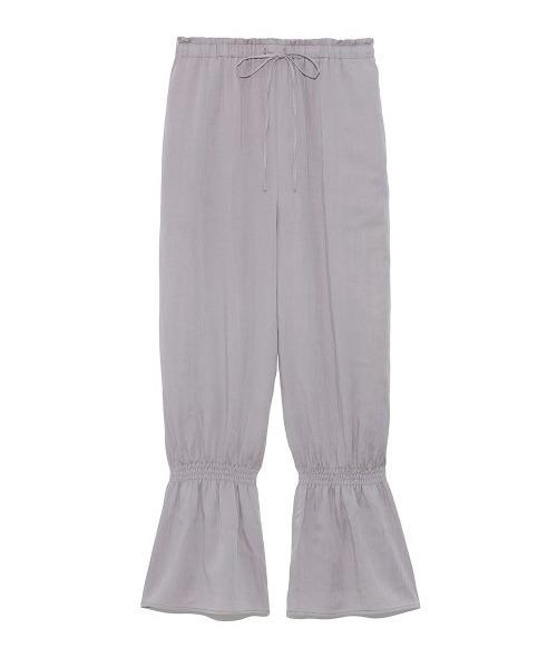 裾シャーリングフリルパンツ