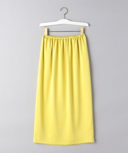UBC サテン ギャザー ロングタイトスカート