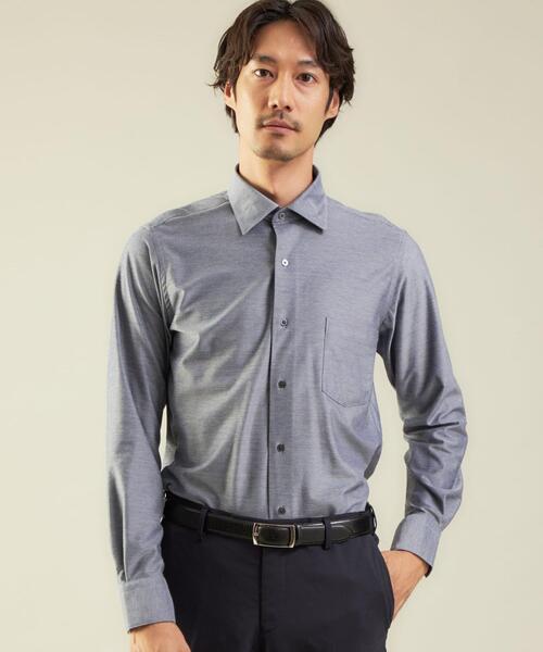 <WORK TRIP OUTFITS GREEN LABEL RELAXING>TCシャンブレーツイル スリム ワイドカラー ドレスシャツ