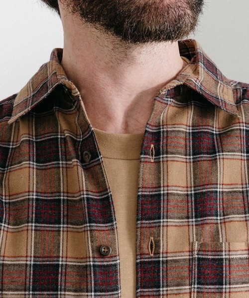 ネルチェックギャザーシャツ