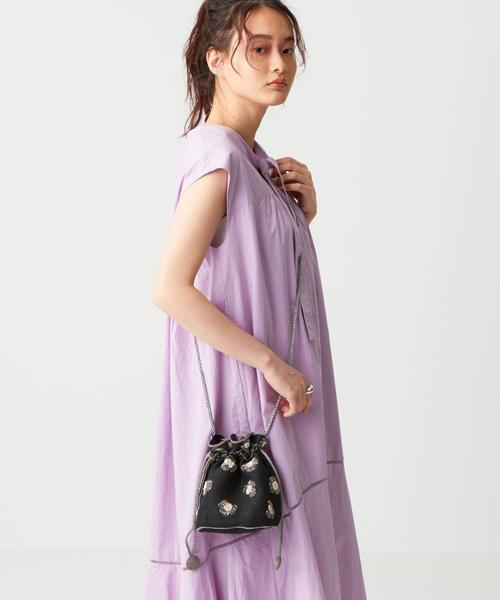 SALUJA(サルージャ)レオパード柄 ビーズ 巾着バッグ