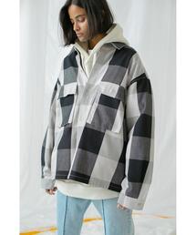 <monkey time> BLOCK CHECK CROPPED CPO/クロップドシャツジャケット